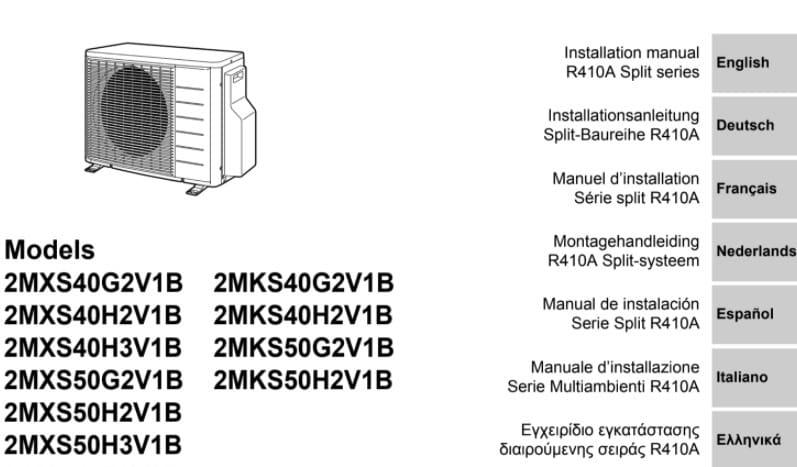 User Manual Air Conditioner Daikin 2AMX50G3V1B PDF.